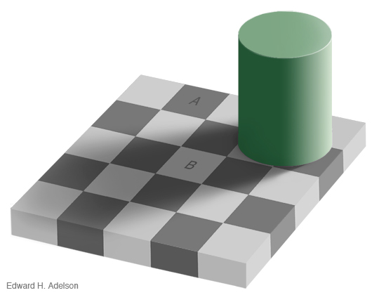 Checker shadow illusion by Edward H. Adelson.